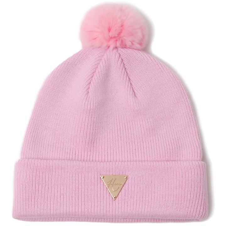 [헤이터] 래빗 퍼 앙고라 방울 비니 핑크 Rabbit Fur Pom Beanie Pink